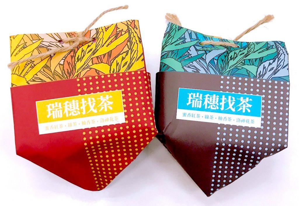 茶包禮品「瑞穗找茶茶包組」包括柚花茶1包、綠茶2包、蜜香紅茶2包、洛神花茶1包及觀光導覽地圖
